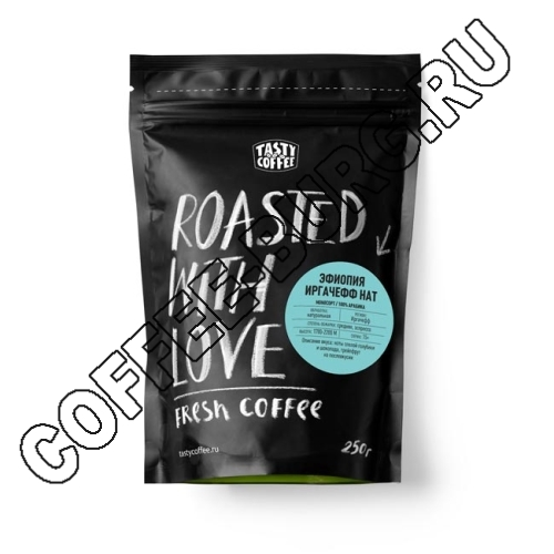 Кофе в зернах Tasty Coffee, эспрессо-смесь «Эфиопия Ирагчефф Нат», 0,250 кг